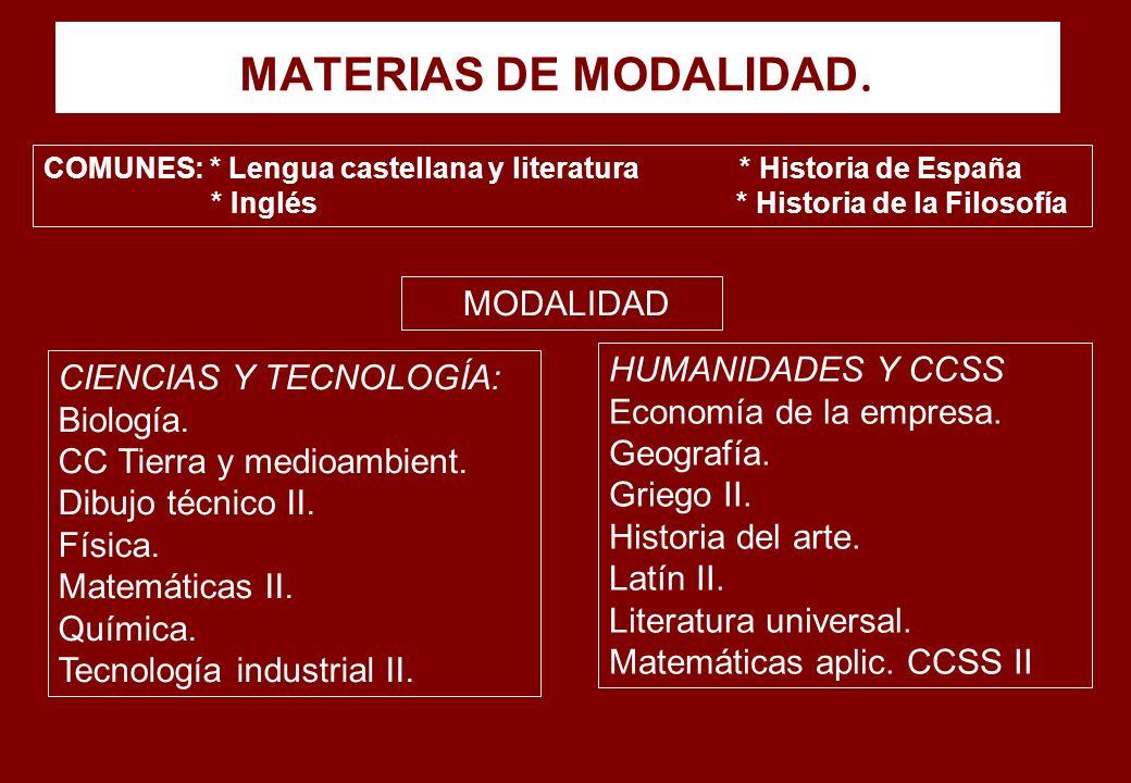 MATERIAS DE MODALIDAD. COMUNES: * Lengua castellana y literatura * Historia de España * Inglés * Historia de la Filosofía CIENCIAS Y TECNOLOGÍA: Biolo