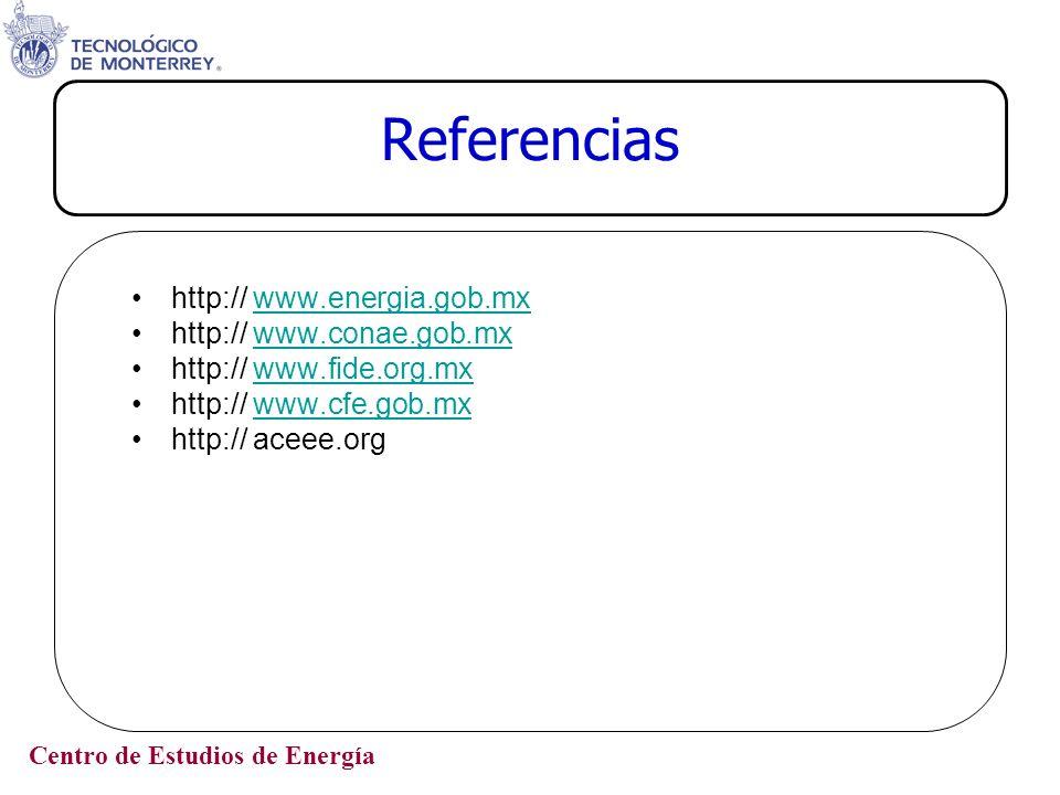 Centro de Estudios de Energía Referencias http:// www.energia.gob.mxwww.energia.gob.mx http:// www.conae.gob.mxwww.conae.gob.mx http:// www.fide.org.m