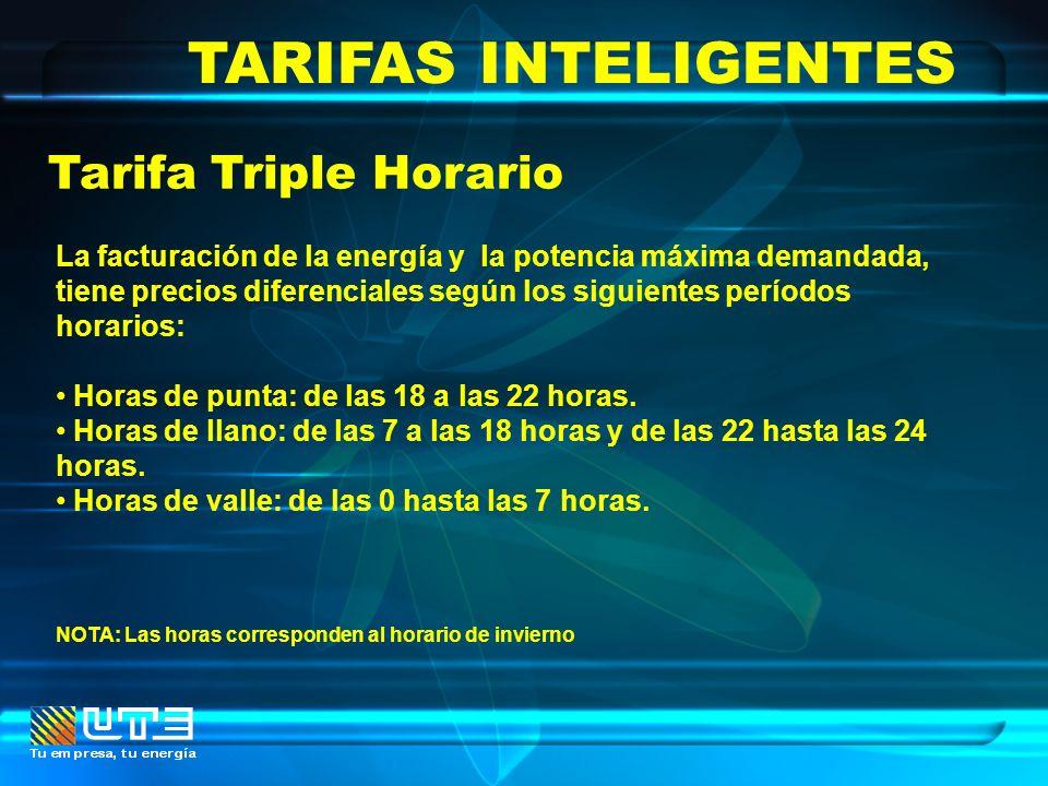 TARIFAS INTELIGENTES Tarifa Triple Horario La facturación de la energía y la potencia máxima demandada, tiene precios diferenciales según los siguient