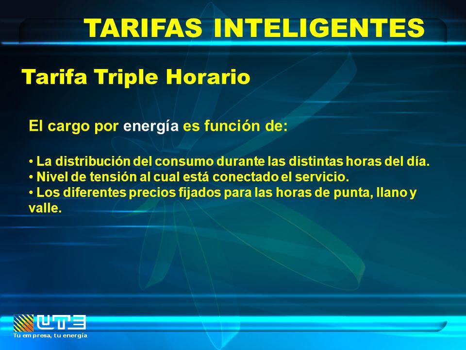 TARIFAS INTELIGENTES Tarifa Triple Horario El cargo por energía es función de: La distribución del consumo durante las distintas horas del día. Nivel
