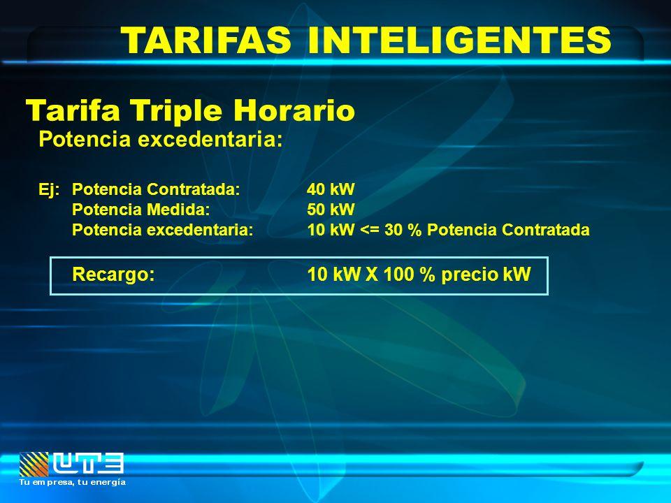 TARIFAS INTELIGENTES Tarifa Triple Horario Potencia excedentaria: Ej: Potencia Contratada:40 kW Potencia Medida:50 kW Potencia excedentaria:10 kW <= 3