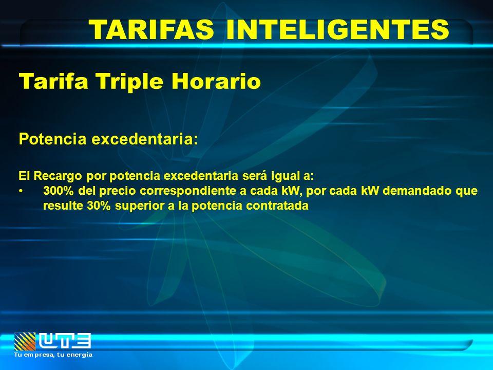 TARIFAS INTELIGENTES Tarifa Triple Horario Potencia excedentaria: El Recargo por potencia excedentaria será igual a: 300% del precio correspondiente a