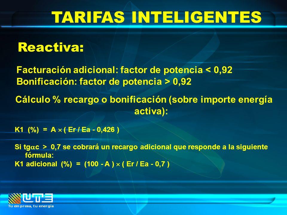 TARIFAS INTELIGENTES Reactiva: Facturación adicional: factor de potencia < 0,92 Bonificación: factor de potencia > 0,92 Cálculo % recargo o bonificaci