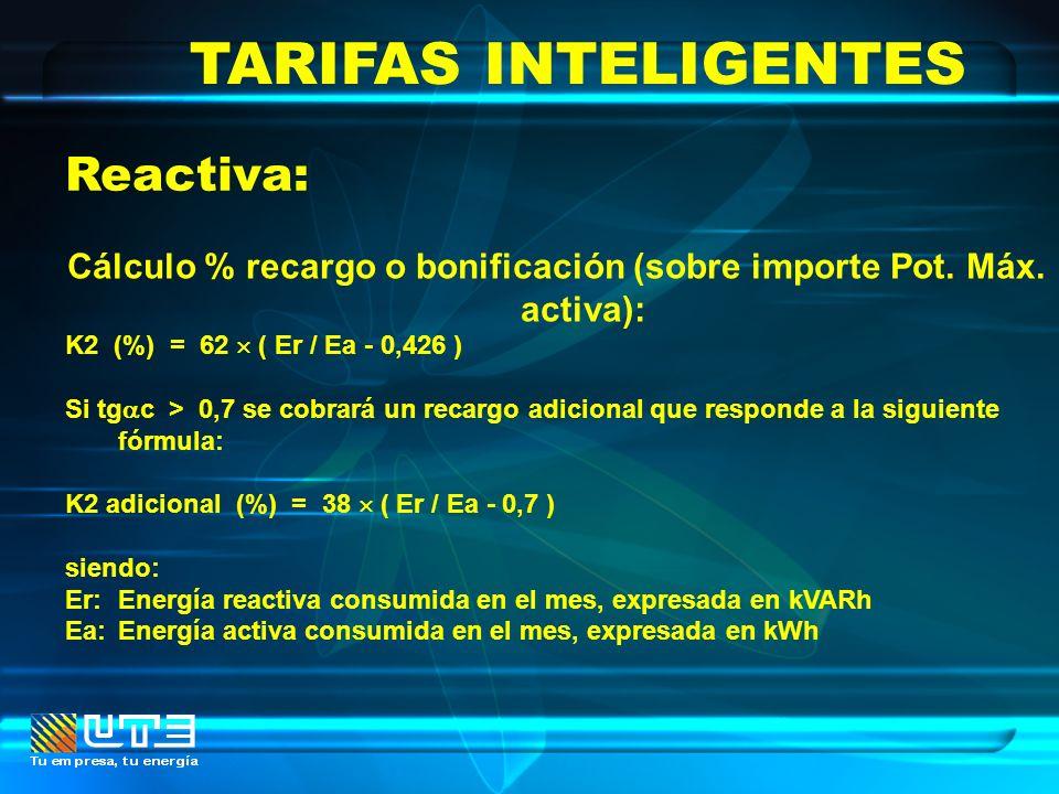 TARIFAS INTELIGENTES Reactiva: Cálculo % recargo o bonificación (sobre importe Pot. Máx. activa): K2 (%) = 62 ( Er / Ea - 0,426 ) Si tg c > 0,7 se cob