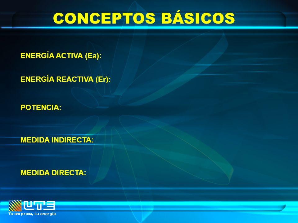 CONCEPTOS BÁSICOS ENERGÍA ACTIVA (Ea): ENERGÍA REACTIVA (Er): POTENCIA: MEDIDA INDIRECTA: MEDIDA DIRECTA: