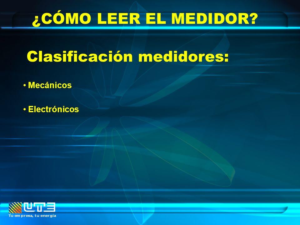 ¿CÓMO LEER EL MEDIDOR? Mecánicos Electrónicos Clasificación medidores: