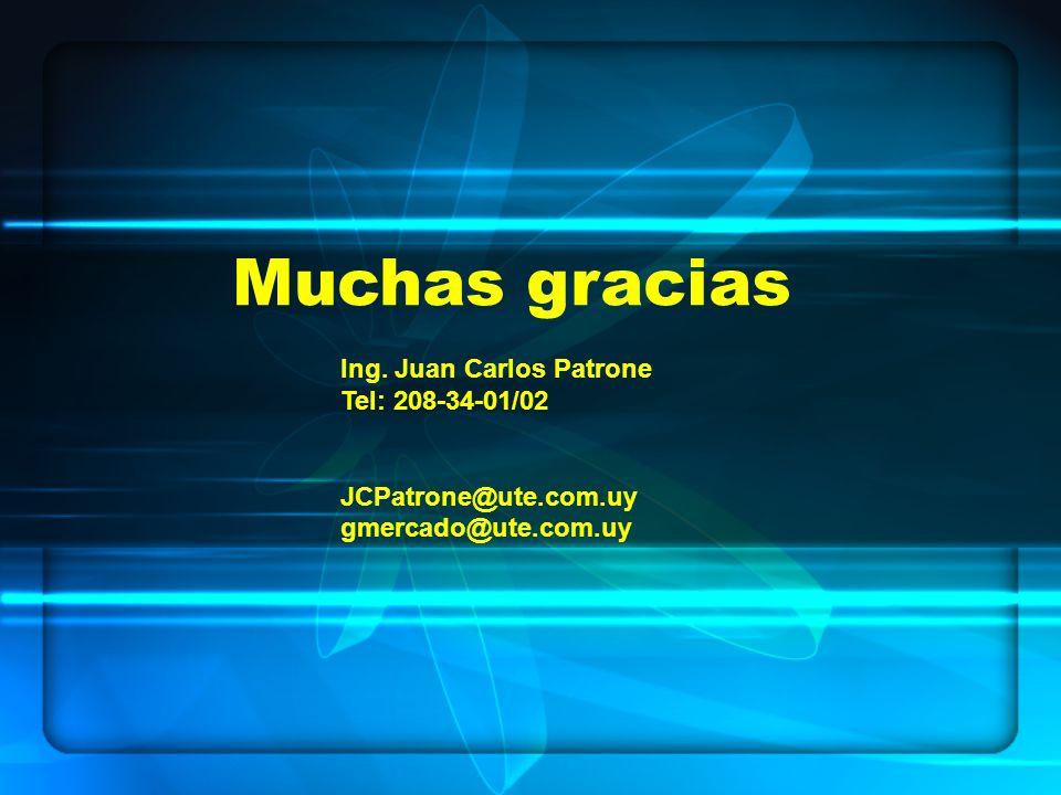 Muchas gracias Ing. Juan Carlos Patrone Tel: 208-34-01/02 JCPatrone@ute.com.uy gmercado@ute.com.uy