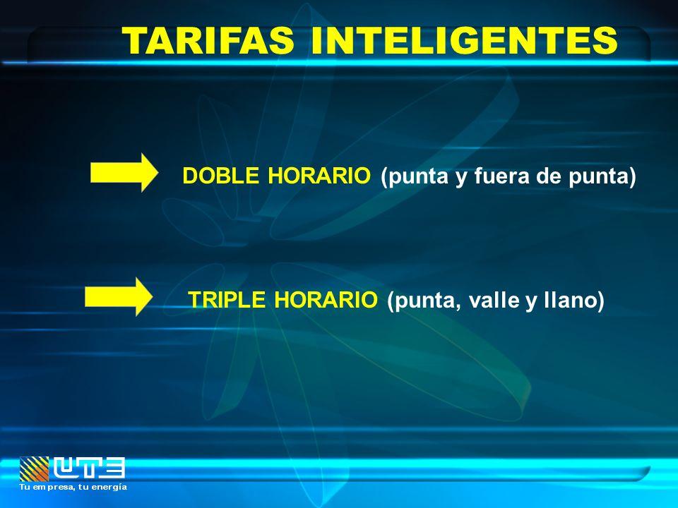 TARIFAS INTELIGENTES DOBLE HORARIO (punta y fuera de punta) TRIPLE HORARIO (punta, valle y llano)