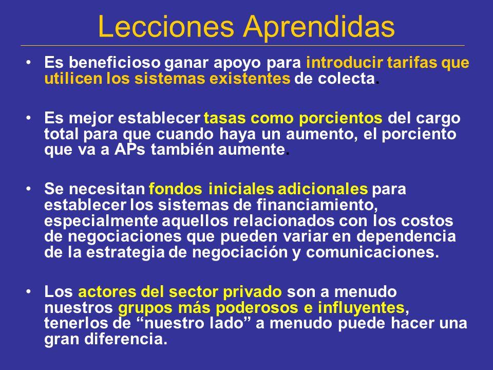 Lecciones Aprendidas Es beneficioso ganar apoyo para introducir tarifas que utilicen los sistemas existentes de colecta.