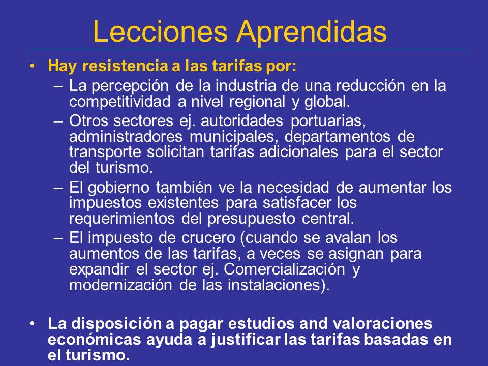 Lecciones Aprendidas Hay resistencia a las tarifas por: –La percepción de la industria de una reducción en la competitividad a nivel regional y global.