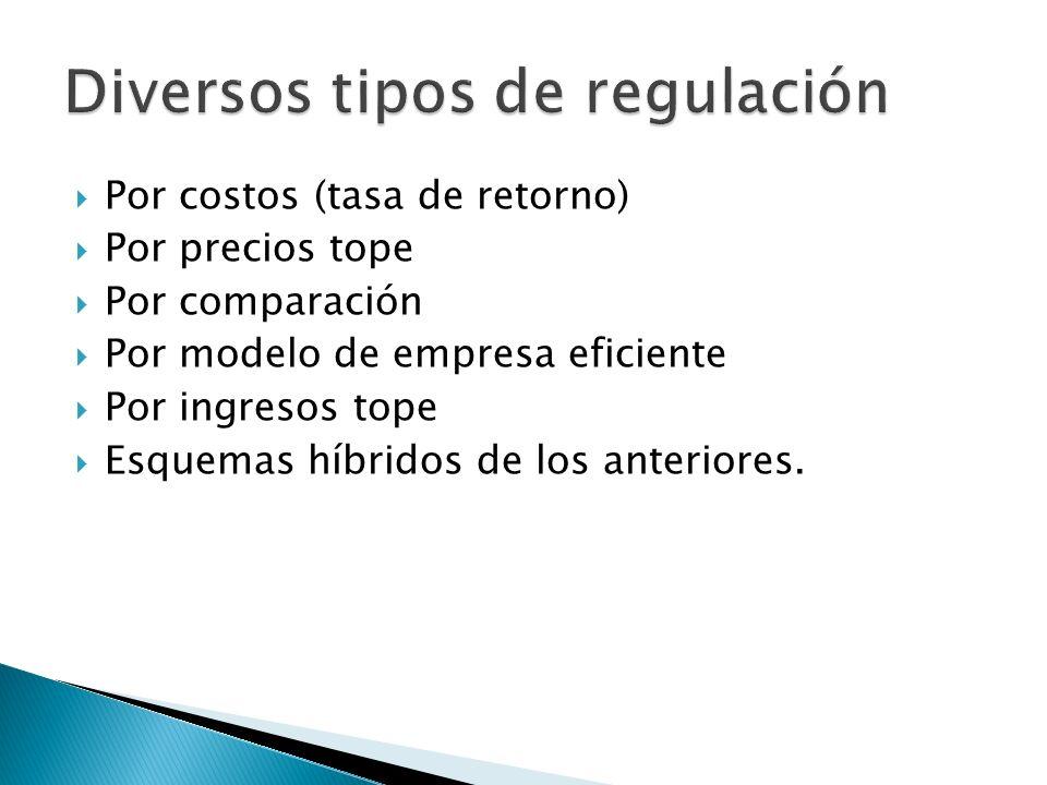 Por costos (tasa de retorno) Por precios tope Por comparación Por modelo de empresa eficiente Por ingresos tope Esquemas híbridos de los anteriores.
