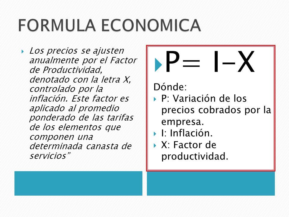 Los precios se ajusten anualmente por el Factor de Productividad, denotado con la letra X, controlado por la inflación.