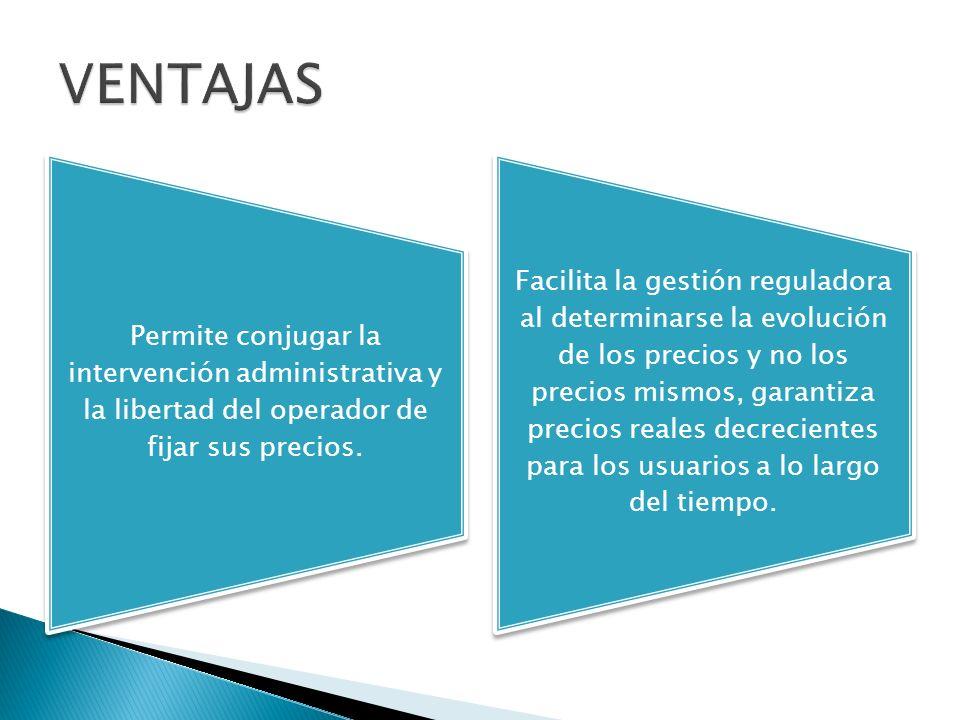 Permite conjugar la intervención administrativa y la libertad del operador de fijar sus precios.