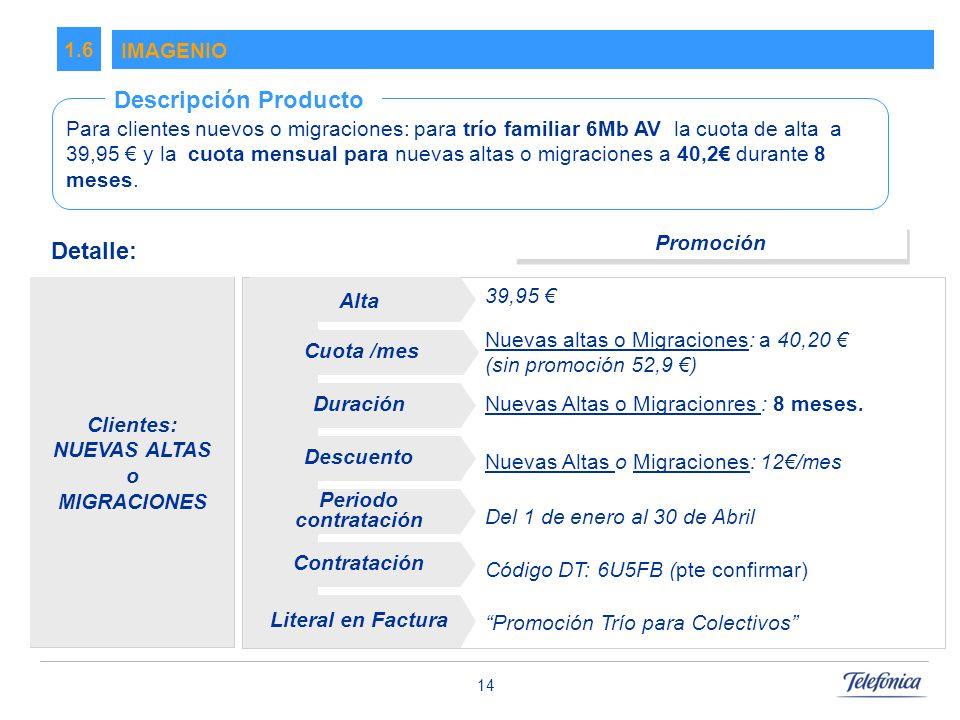 14 IMAGENIO 1.6 Para clientes nuevos o migraciones: para trío familiar 6Mb AV la cuota de alta a 39,95 y la cuota mensual para nuevas altas o migraciones a 40,2 durante 8 meses.