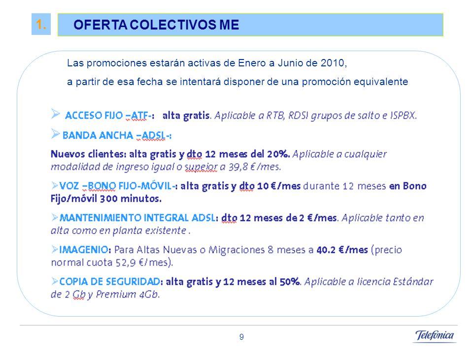 9 1. OFERTA COLECTIVOS ME Las promociones estarán activas de Enero a Junio de 2010, a partir de esa fecha se intentará disponer de una promoción equiv