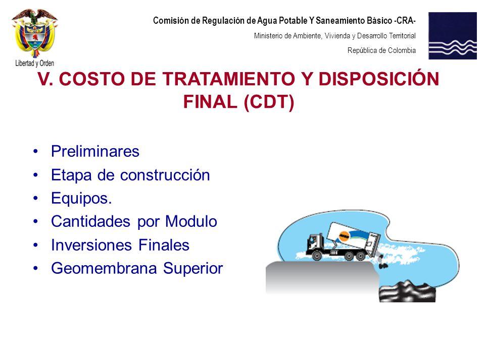 Comisión de Regulación de Agua Potable Y Saneamiento Básico -CRA- Ministerio de Ambiente, Vivienda y Desarrollo Territorial República de Colombia Prel