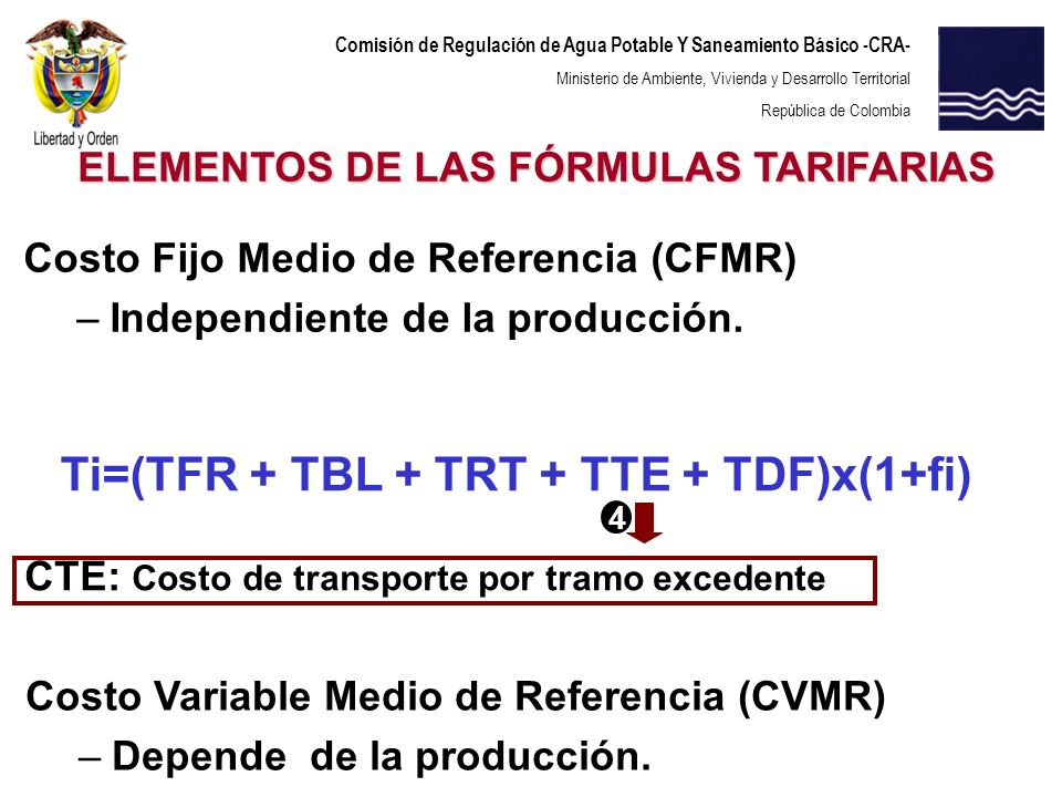Comisión de Regulación de Agua Potable Y Saneamiento Básico -CRA- Ministerio de Ambiente, Vivienda y Desarrollo Territorial República de Colombia Ti=(