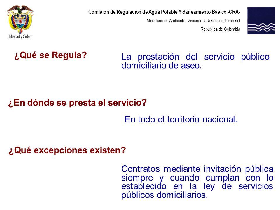 Comisión de Regulación de Agua Potable Y Saneamiento Básico -CRA- Ministerio de Ambiente, Vivienda y Desarrollo Territorial República de Colombia 2.