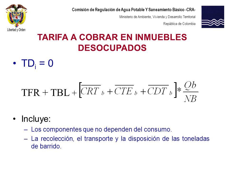 Comisión de Regulación de Agua Potable Y Saneamiento Básico -CRA- Ministerio de Ambiente, Vivienda y Desarrollo Territorial República de Colombia TD i