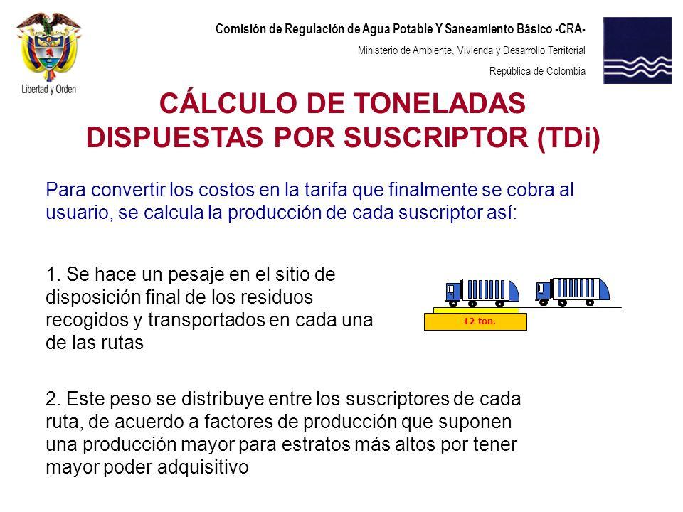 Comisión de Regulación de Agua Potable Y Saneamiento Básico -CRA- Ministerio de Ambiente, Vivienda y Desarrollo Territorial República de Colombia CÁLC