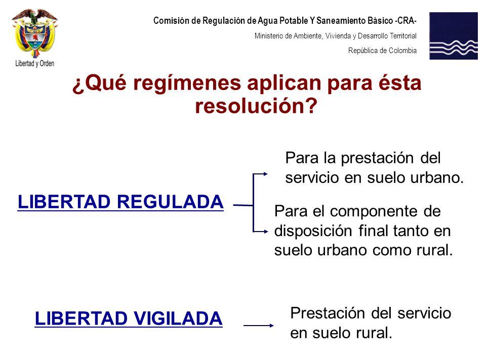 Comisión de Regulación de Agua Potable Y Saneamiento Básico -CRA- Ministerio de Ambiente, Vivienda y Desarrollo Territorial República de Colombia La medición individual resulta costosa en el servicio de aseo.