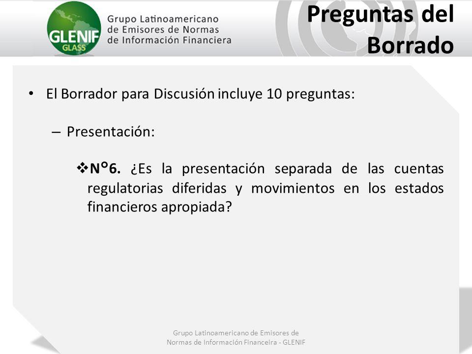 Grupo Latinoamericano de Emisores de Normas de Información Financeira - GLENIF Preguntas del Borrado El Borrador para Discusión incluye 10 preguntas: