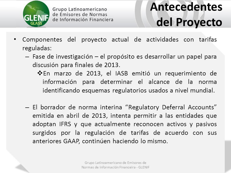 Grupo Latinoamericano de Emisores de Normas de Información Financeira - GLENIF Antecedentes del Proyecto Componentes del proyecto actual de actividade