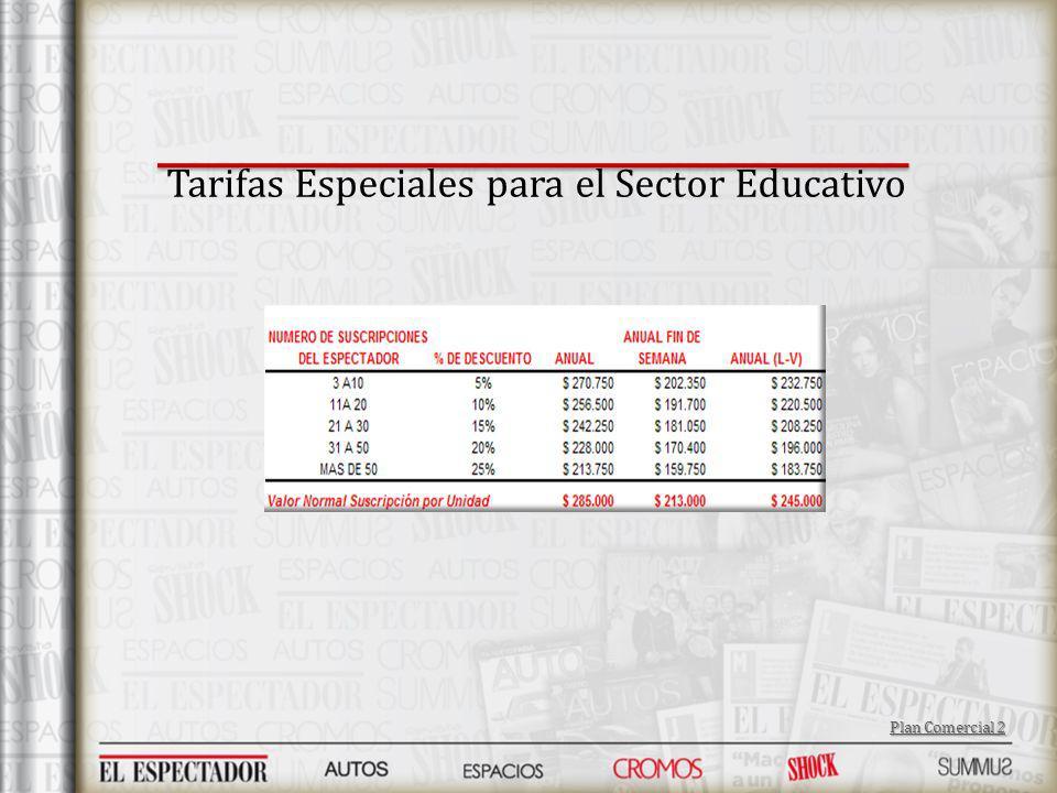 Tarifas Especiales para el Sector Educativo Plan Comercial 2 Plan Comercial 2