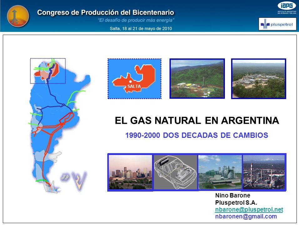 SALTA EL GAS NATURAL EN ARGENTINA 1990-2000 DOS DECADAS DE CAMBIOS Nino Barone Pluspetrol S.A. nbarone@pluspetrol.net nbaronen@gmail.com