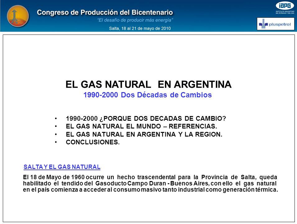 En las décadas 1990-2000 se enmarcan aspectos con cambios significativos en la evolución del gas natural en nuestro país, como lo son: 1.-1990 Auditoria General de Reservas.