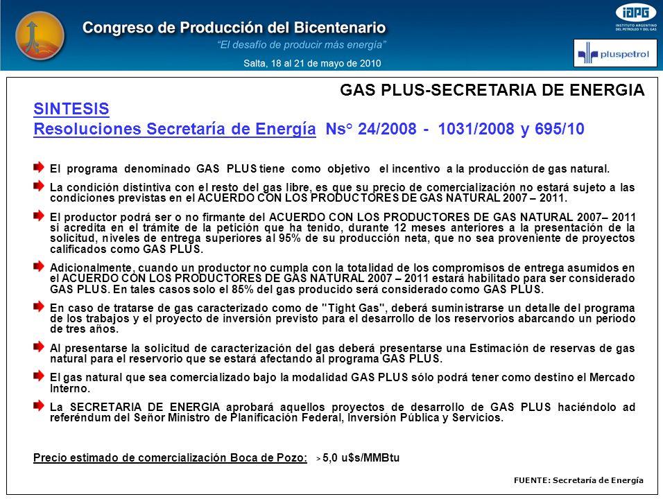SINTESIS Resoluciones Secretaría de Energía Ns° 24/2008 - 1031/2008 y 695/10 El programa denominado GAS PLUS tiene como objetivo el incentivo a la pro