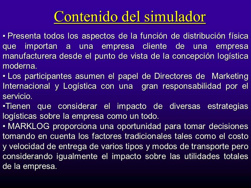 Contenido del simulador Presenta todos los aspectos de la función de distribución física que importan a una empresa cliente de una empresa manufacture