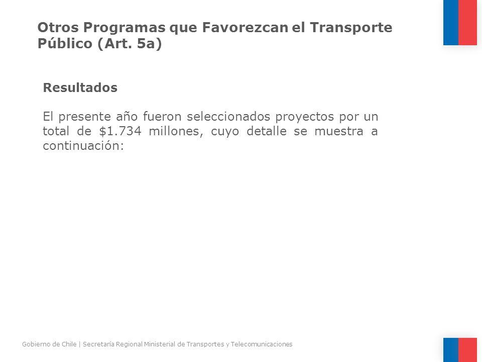 Otros Programas que Favorezcan el Transporte Público (Art. 5a) Resultados El presente año fueron seleccionados proyectos por un total de $1.734 millon