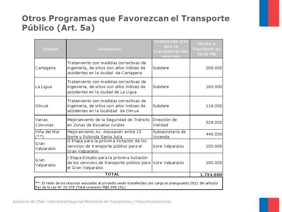 Otros Programas que Favorezcan el Transporte Público (Art. 5a) Gobierno de Chile | Secretaría Regional Ministerial de Transportes y Telecomunicaciones