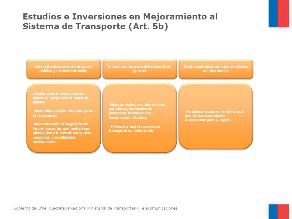 Estudios e Inversiones en Mejoramiento al Sistema de Transporte (Art. 5b) Gobierno de Chile | Secretaría Regional Ministerial de Transportes y Telecom