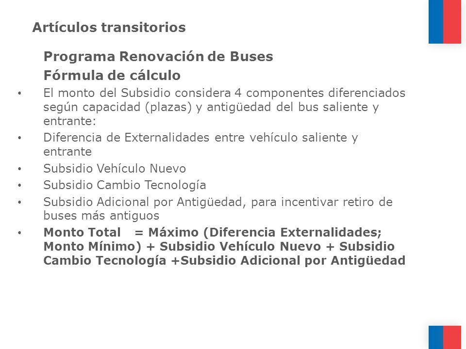 Artículos transitorios Programa Renovación de Buses Fórmula de cálculo El monto del Subsidio considera 4 componentes diferenciados según capacidad (pl