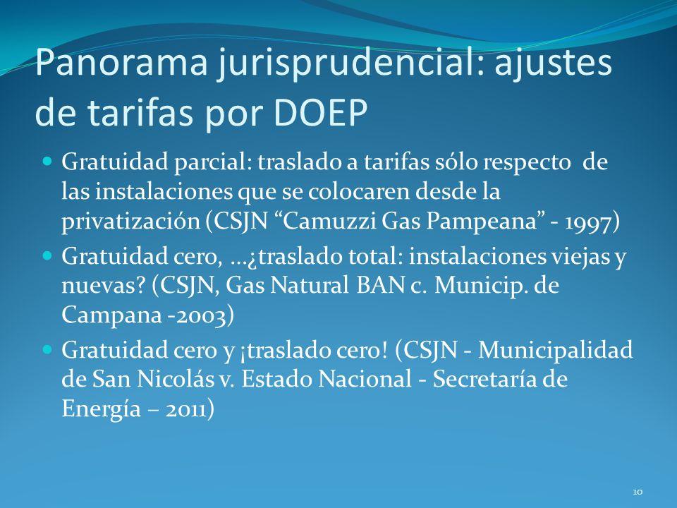 Panorama jurisprudencial: ajustes de tarifas por DOEP Gratuidad parcial: traslado a tarifas sólo respecto de las instalaciones que se colocaren desde