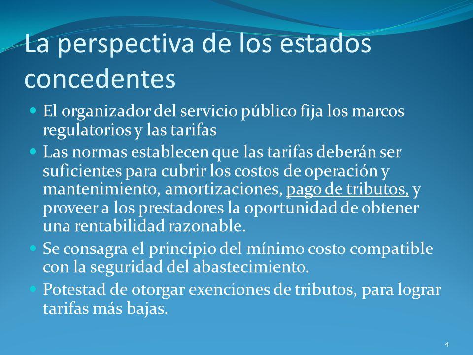 La perspectiva de los estados concedentes El organizador del servicio público fija los marcos regulatorios y las tarifas Las normas establecen que las