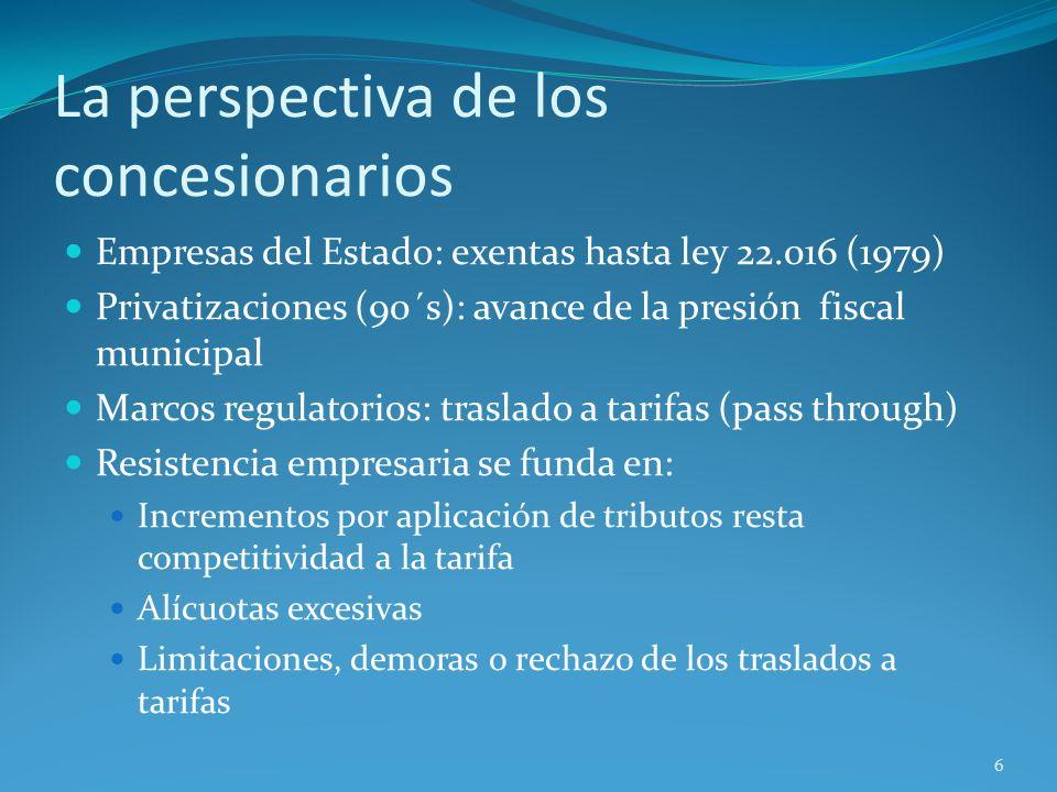 La perspectiva de los concesionarios Empresas del Estado: exentas hasta ley 22.016 (1979) Privatizaciones (90´s): avance de la presión fiscal municipa