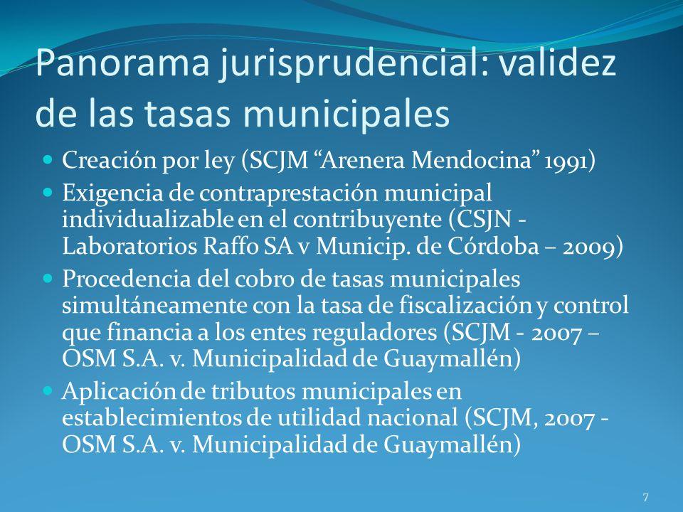 Panorama jurisprudencial: validez de las tasas municipales Creación por ley (SCJM Arenera Mendocina 1991) Exigencia de contraprestación municipal indi