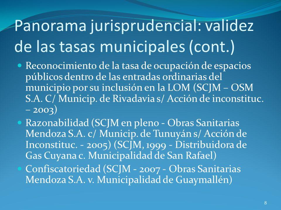 Panorama jurisprudencial: validez de las tasas municipales (cont.) Reconocimiento de la tasa de ocupación de espacios públicos dentro de las entradas