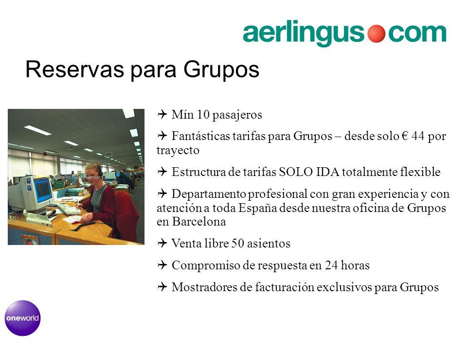 Reservas para Grupos Mín 10 pasajeros Fantásticas tarifas para Grupos – desde solo 44 por trayecto Estructura de tarifas SOLO IDA totalmente flexible