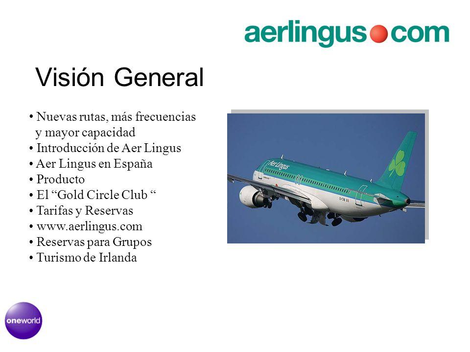 Visión General Nuevas rutas, más frecuencias y mayor capacidad Introducción de Aer Lingus Aer Lingus en España Producto El Gold Circle Club Tarifas y Reservas www.aerlingus.com Reservas para Grupos Turismo de Irlanda