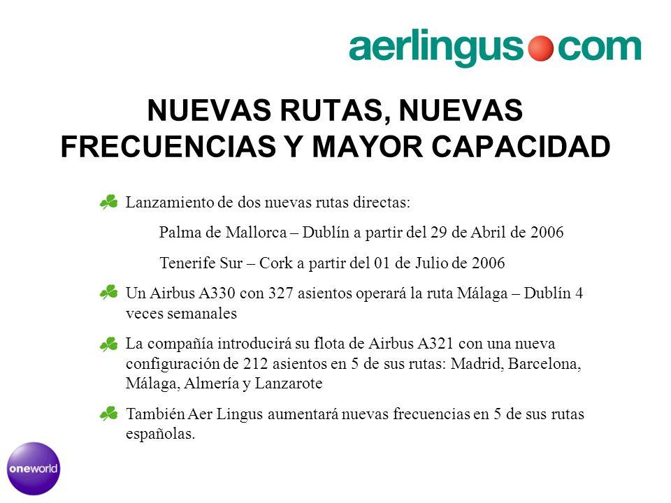 NUEVAS RUTAS, NUEVAS FRECUENCIAS Y MAYOR CAPACIDAD Lanzamiento de dos nuevas rutas directas: Palma de Mallorca – Dublín a partir del 29 de Abril de 20