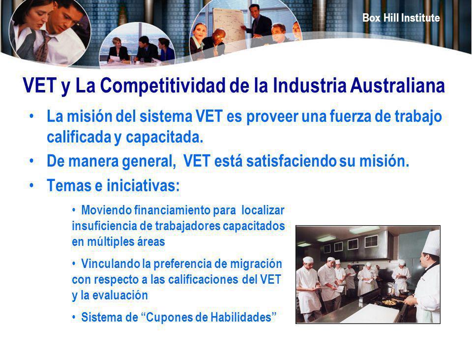 Box Hill Institute VET y La Competitividad de la Industria Australiana La misión del sistema VET es proveer una fuerza de trabajo calificada y capacit