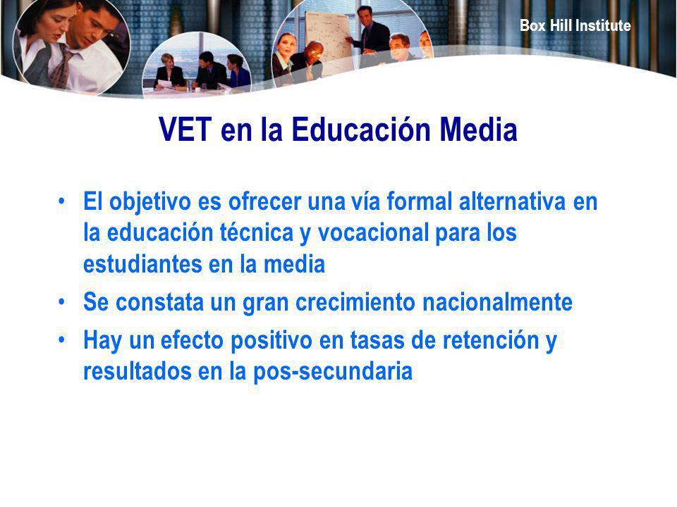 Box Hill Institute VET en la Educación Media El objetivo es ofrecer una vía formal alternativa en la educación técnica y vocacional para los estudiant