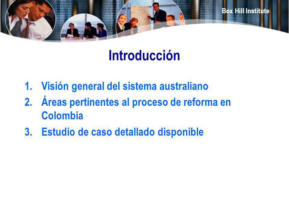 Box Hill Institute Introducción 1.Visión general del sistema australiano 2.Áreas pertinentes al proceso de reforma en Colombia 3.Estudio de caso detal