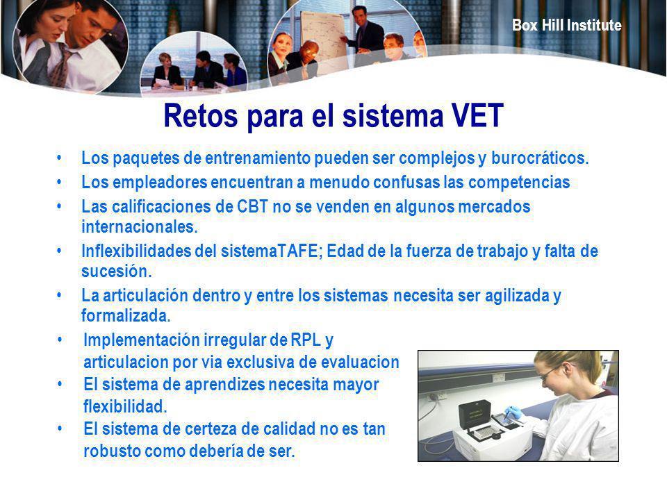 Box Hill Institute Retos para el sistema VET Los paquetes de entrenamiento pueden ser complejos y burocráticos. Los empleadores encuentran a menudo co