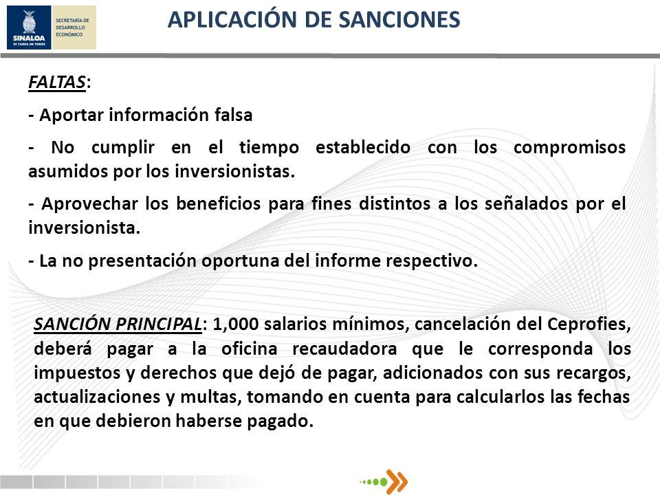 FALTAS: - Aportar información falsa - No cumplir en el tiempo establecido con los compromisos asumidos por los inversionistas. - Aprovechar los benefi
