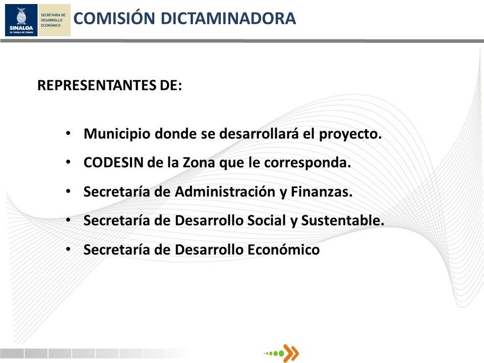 COMISIÓN DICTAMINADORA Municipio donde se desarrollará el proyecto. CODESIN de la Zona que le corresponda. Secretaría de Administración y Finanzas. Se